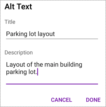 Add alt text to images in OneNote for Android