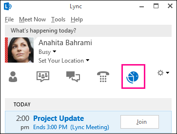 Screen shot of meetings view tab