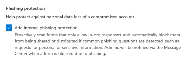 Microsoft Forms admin setting for phishing protection