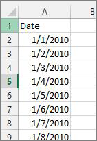 Date column in Excel