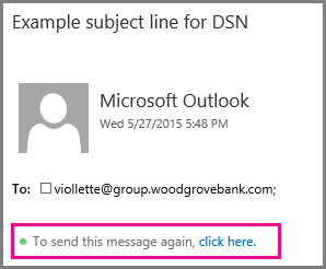 Send this message again link in Outlook Web App