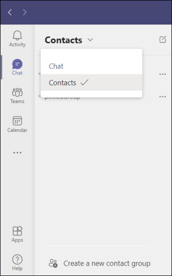 Teams-create a new contact group in chat
