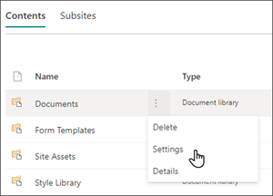 Image of the Site contents page with the cursor hovering over Settings in the Documents menu.