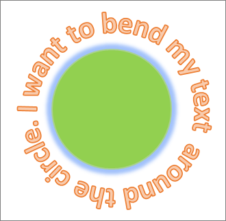 Text curved around a circle shape