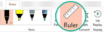 The Ruler stencil is on the Draw tab of the ribbon in PowerPoint 2016.