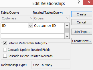 Edit Relationships dialog box