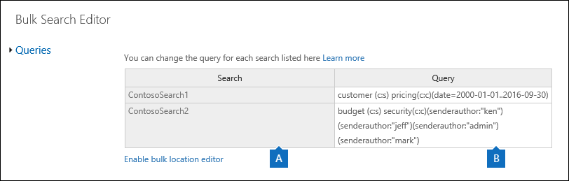 The Bulk search editor page displays the queries for the selected searches