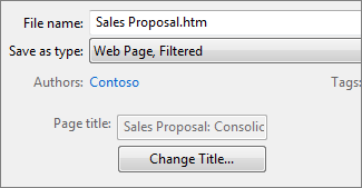 The Save As dialog box with Web Page, Filtered selected