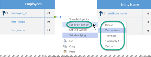 Right-click the Relationship line, select Set Begin Symbol, and then select a cardinality setting from the list.