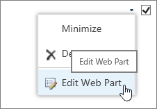 Web Part edit menu highlighted