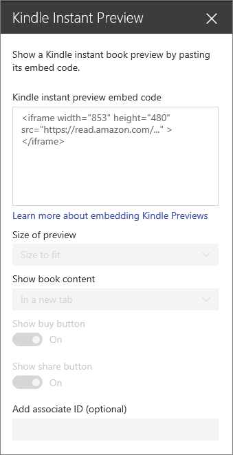 Use the Kindle instant prevew web part - Office Support