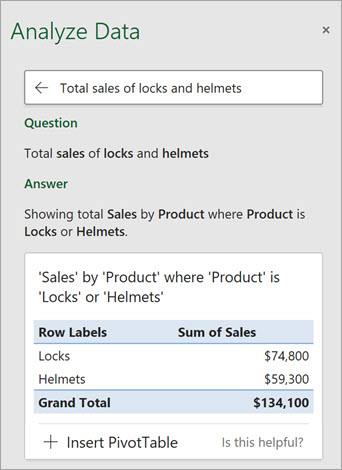 Ideas in Excel answering a question about how many Locks or Helmets were sold.