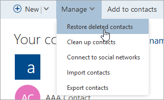 A screenshot of the Restore deleted contacts button.