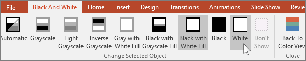 shows change selected object menu in PowerPoint