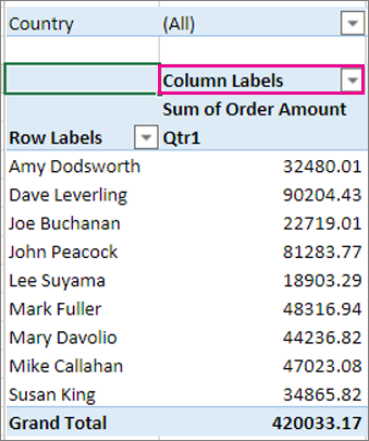 Columns area in the PivotTable