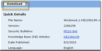 Select Download in the download page for KB2286198. A window showing File Download appears, select Open to install the file automatically after downloading.