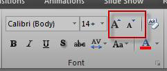 Excel font group