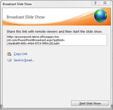 The Broadcast Slide Show dialog box with a URL for a slide show.