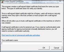 Create Digital Signature dialog