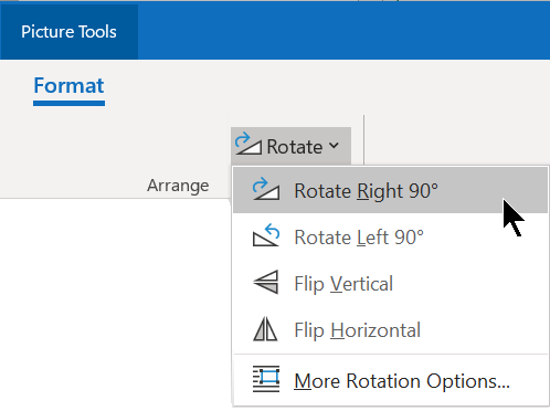 The Rotate button is on the Format tab of the ribbon, in the Arrange group.