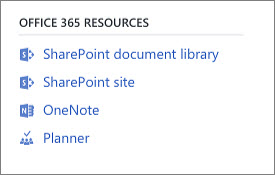 Screenshot showing Office 365 Resources
