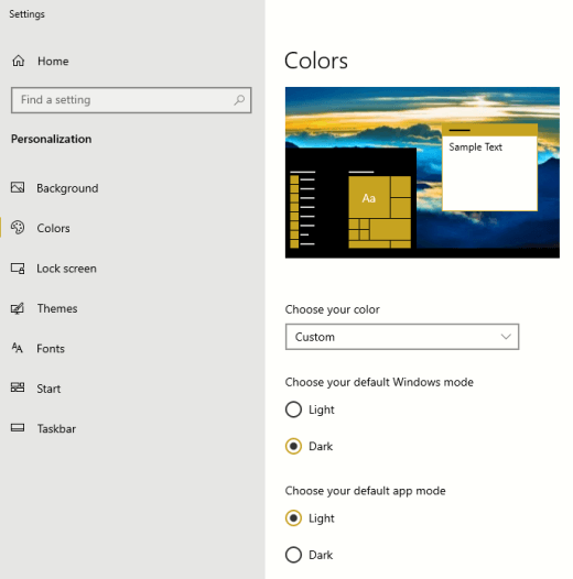 The default color modes options for Windows and apps.