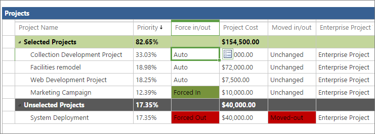 You can see projects' selection status in the project grid on the Cost Constraint Analysis page.