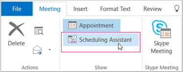 Scheduling Assistant button