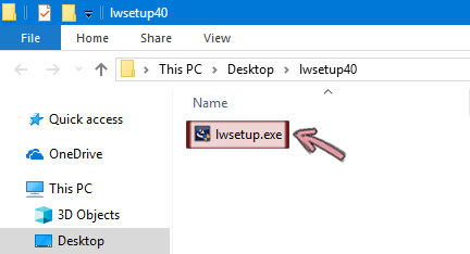 Double-click lwsetup.exe to start installing the LiveWeb add-in.