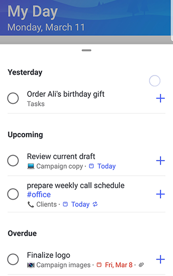 Screenshot of To-Do on Android with Suggestions fully open and grouped by Yesterday, Upcoming and Overdue.