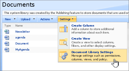 Selecting the document library settings option from the settings menu