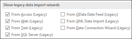 Image of the Get & Transform Legacy Wizard options from File > Options > Data.