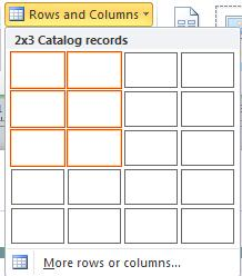Catalog page layout rows and columns