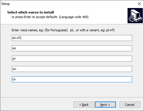 eSpeak installation dialog box