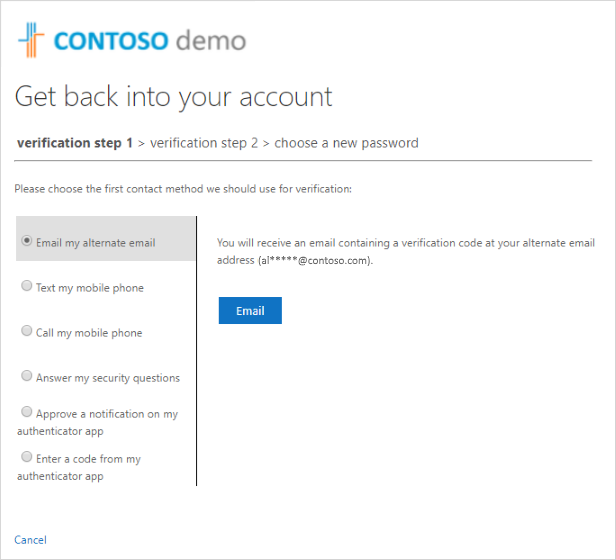 Get back into your account, verification step number one
