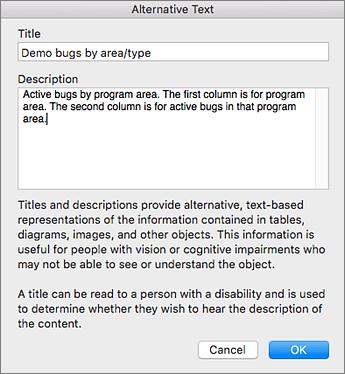 Screenshot of the Alternative Text dialog