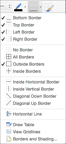 The border options are shown for the table design