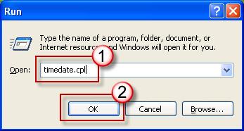 Run dialog box - timedate.cpl
