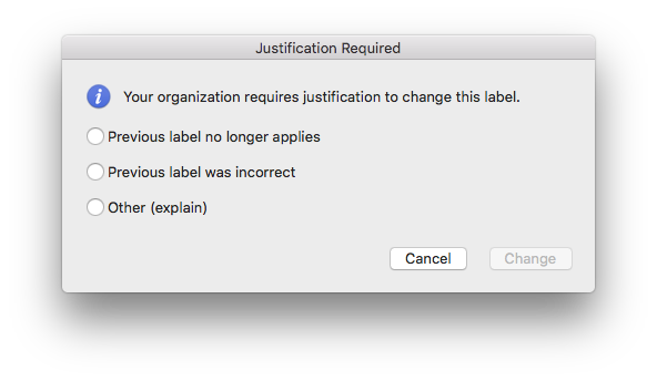 Sensitivity label downgrade justification experience in Mac Word