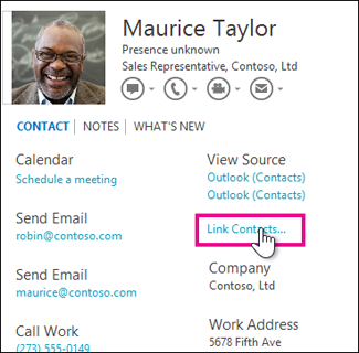 Link Contacts button in Contact Card