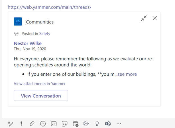 Rich preview of a Yammer link