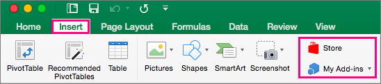 Shows the Store and My Add-ins buttons on the Insert tab in the ribbon in Excel 2016 for Mac.