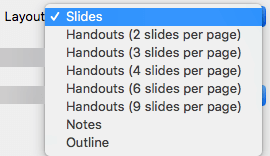 Select the Slide layout in the Print dialog box