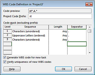 Create WBS codes - Project