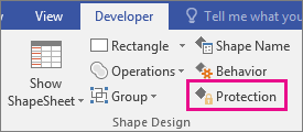 Protection in Shape Desgin on the Developer tab in Visio 2016