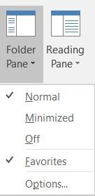 Outlook 2016 Folder Pane command