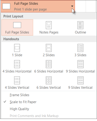 Pick a print layout