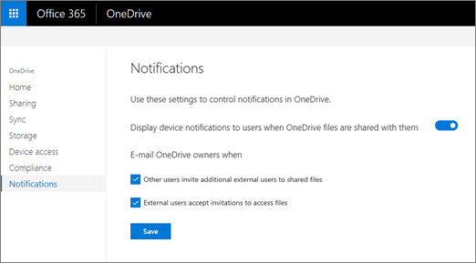 The Notifications tab of the OneDrive admin center
