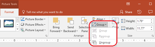 The Ungroup command on the Format tab of the PowerPoint ribbon, under Picture Tools.