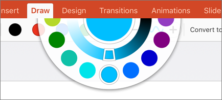 Shows the color wheel for more color options in the Draw tab in Office 2016 for iPad